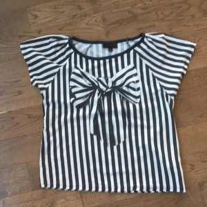 Topshop Trompe l'Oeil Striped Tshirt with Bow